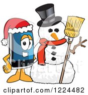 Clipart Of A Smart Phone Mascot Character With A Christmas Snowman Royalty Free Vector Illustration