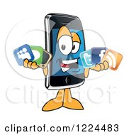 Clipart Of A Smart Phone Mascot Character Holding Social Media Icons Royalty Free Vector Illustration by Toons4Biz