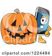 Clipart Of A Smart Phone Mascot Character With A Halloween Pumpkin Royalty Free Vector Illustration