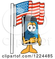 Clipart Of A Smart Phone Mascot Character Under An American Flag Royalty Free Vector Illustration