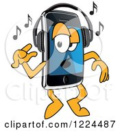 Clipart Of A Smart Phone Mascot Character Dancing And Listening To Music Royalty Free Vector Illustration