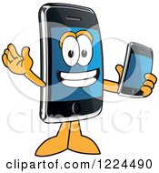Clipart Of A Smart Phone Mascot Character Holding Another Telephone Royalty Free Vector Illustration