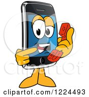 Clipart Of A Smart Phone Mascot Character Holding A Telephone Royalty Free Vector Illustration
