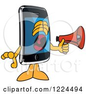 Clipart Of A Smart Phone Mascot Character Screaming Into A Megaphone Royalty Free Vector Illustration by Toons4Biz