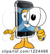 Clipart Of A Smart Phone Mascot Character Using A Magnifying Glass Royalty Free Vector Illustration