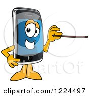 Clipart Of A Smart Phone Mascot Character Holding A Pointer Stick Royalty Free Vector Illustration