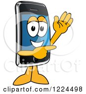 Clipart Of A Smart Phone Mascot Character Waving And Pointing Royalty Free Vector Illustration by Toons4Biz