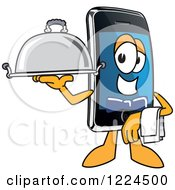 Clipart Of A Smart Phone Mascot Character Waiter Royalty Free Vector Illustration by Toons4Biz