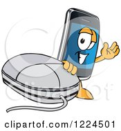 Clipart Of A Smart Phone Mascot Character With A Computer Mouse Royalty Free Vector Illustration