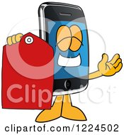 Clipart Of A Smart Phone Mascot Character Holding A Clearance Tag Royalty Free Vector Illustration by Toons4Biz
