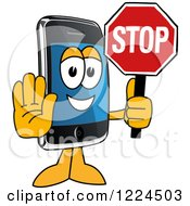 Clipart Of A Smart Phone Mascot Character Holding A Stop Sign Royalty Free Vector Illustration