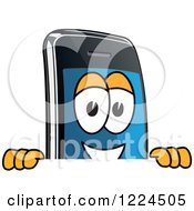 Clipart Of A Smart Phone Mascot Character Looking Over A Sign Royalty Free Vector Illustration by Toons4Biz