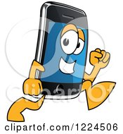 Clipart Of A Smart Phone Mascot Character Running Royalty Free Vector Illustration by Toons4Biz