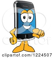 Clipart Of A Smart Phone Mascot Character Pointing Outwards Royalty Free Vector Illustration