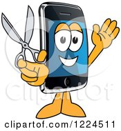 Clipart Of A Smart Phone Mascot Character Holding Scissors Royalty Free Vector Illustration