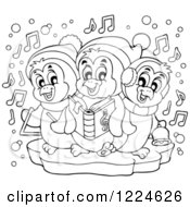 Clipart Of Outlined Penguins Singing Christmas Carols Royalty Free Vector Illustration by visekart