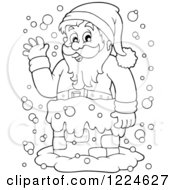 Clipart Of An Outlined Santa Waving From A Chimney In The Snow Royalty Free Vector Illustration