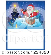 Clipart Of A Christmas Text Box With Santa In A Chimney And A Tree In The Snow Royalty Free Vector Illustration