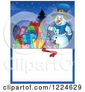 Clipart Of A Snowman With Christmas Presents Over A Text Box Royalty Free Vector Illustration