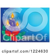 Clipart Of Purple Christmas Candles With Poinsettia On A Blue Background Royalty Free Vector Illustration