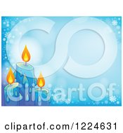Clipart Of Blue Christmas Candles On A Background With Snowflakes And Flares Royalty Free Vector Illustration