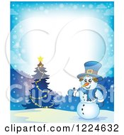 Clipart Of A Snowman Presenting A Christmas Tree In The Snow Royalty Free Vector Illustration