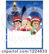 Clipart Of A Text Box With Happy Children And A Christmas Tree In The Snow Royalty Free Vector Illustration