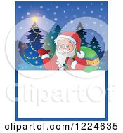 Clipart Of A Christmas Text Box With Santa And A Tree In The Snow Royalty Free Vector Illustration