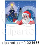 Clipart Of A Christmas Text Box With Santa Presenting And A Tree In The Snow Royalty Free Vector Illustration