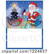 Clipart Of A Christmas Text Box With Santa Presents And A Tree In The Snow Royalty Free Vector Illustration
