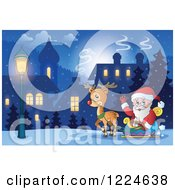 Clipart Of Santa Waving In His Reindeer Sleigh In A Village Royalty Free Vector Illustration