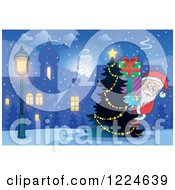Clipart Of Santa Carrying A Stack Of Christmas Presents Around A Village Tree Royalty Free Vector Illustration