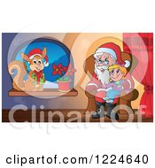 Clipart Of A Girl On Santas Lap And A Christmas Squirrel In A Window Royalty Free Vector Illustration