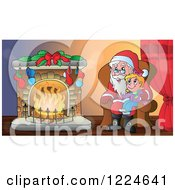 Clipart Of A Girl Sitting On Santas Lap By A Fireplace Royalty Free Vector Illustration by visekart