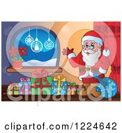 Clipart Of Santa With A Sack And Christmas Presents By A Window Royalty Free Vector Illustration