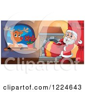 Clipart Of Santa Pulling His Sack Through A Fireplace And Rudolph In A Window Royalty Free Vector Illustration by visekart