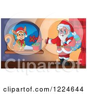 Clipart Of Santa And A Christmas Squirrel By A Window Royalty Free Vector Illustration