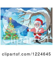 Clipart Of Santa Presenting A Christmas Tree In The Snow Royalty Free Vector Illustration