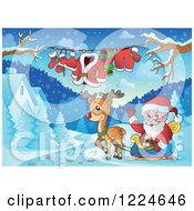 Clipart Of Santa Waving In His Reindeer Sleigh By A Clothesline And Winter Houses Royalty Free Vector Illustration
