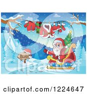 Clipart Of Santa Waving In His Sleigh By A Clothesline And Winter Houses Royalty Free Vector Illustration