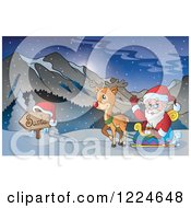 Clipart Of Santa Waving In His Reindeer Sleigh In Snowy Mountains Royalty Free Vector Illustration by visekart