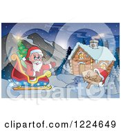 Clipart Of Santa Waving In His Reindeer Sleigh By A Cabin Royalty Free Vector Illustration by visekart