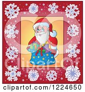 Clipart Of Santa With A Sack Of Christmas Gifts In A Frame Of Snowflakes Royalty Free Vector Illustration