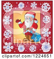Clipart Of Santa Waving In A Frame Of Snowflakes Royalty Free Vector Illustration