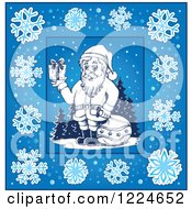Clipart Of Santa With A Sack And Christmas Gift In A Blue Frame Of Snowflakes Royalty Free Vector Illustration
