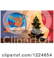 Clipart Of A Christmas Tree By A Window With A Reindeer And Poinsettia Royalty Free Vector Illustration by visekart