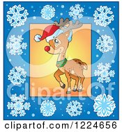 Clipart Of A Christmas Reindeer In A Blue Snowflake Frame Royalty Free Vector Illustration by visekart