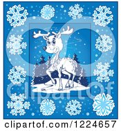 Clipart Of A Sketched Christmas Reindeer In A Blue Snowflake Frame Royalty Free Vector Illustration by visekart