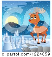 Clipart Of A Red Nosed Christmas Reindeer On A Cliff Over A Winter Landscape Royalty Free Vector Illustration by visekart