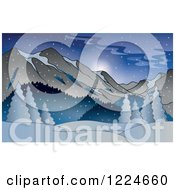 Clipart Of A Snowy Winter Landscape With Mountains Royalty Free Vector Illustration